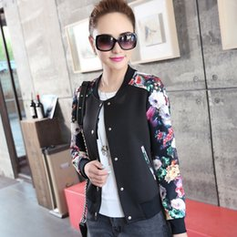 Wholesale Short Wind Coat - Wholesale- Women Jacket Coat Baseball Coat Tops Female Nations Wind Printed Short Thin Outwear Plus Size 4XL 5XL Feminina