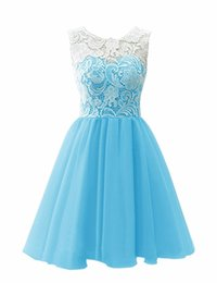Wholesale Sweetheart Tulle Blue Homecoming Dress - Hot Sale Simple Chiffon Prom Dresses Scoop Short Homecoming Sleeveless Lace Cocktail Dress A Line Above Knee Graduation Vestidos