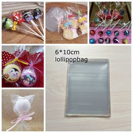 Wholesale Small Food Plastic Bags Wholesale - Transparent Plastic Lollipop Candy Bag Small Food Grade Opp Package Pouch Cake Chocolate Baking Pack 6*10cm 200pcs lot