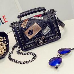 Wholesale Retro Rivet Bag - Shoulder Bag Designer Luxury Women Bags New Retro Chain Small Square Bag Famous Brand Rivets Phone Handbags Ladies Messenger Bags