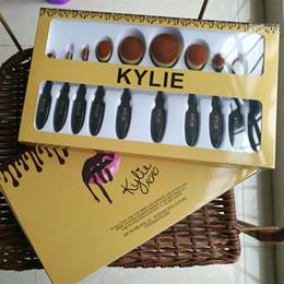 Wholesale Wholesale Brushes Set Cosmetics - New arrival Kylie Oval Brush Set Black Cosmetic makeup brushes Foundation BB Cream Powder Blush 10pcs tooth shaped Brush set DHL Free