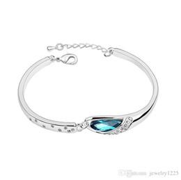 Wholesale Shoe Bracelet Charms - Luxury Sapphire Bracelets Jewelry New Style Charms Blue Austria Diamond Bangle Bracelet 925 Sterling Silver Glass Shoes Hand Jewelry