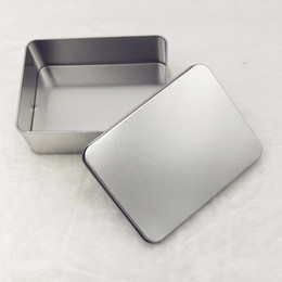 Wholesale Metal Tin Box Plain - Plain silver tin box 12.4x9.3x4cm, rectangle tea candy business card usb storage box case WA1640