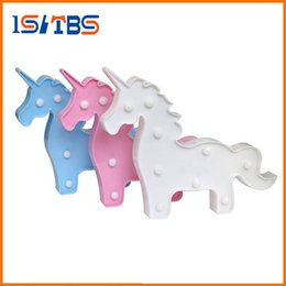 Wholesale Kids Plastic Water Cups - Cute 3D Unicorn Night Light Baby Plastic LED Lamp Kids Room Bedroom Bedside Lamp Party Wedding Home Decoration