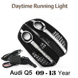 Wholesale Daytime Running Lights Audi - High quality Car style Day Light DRL FOR Audi Q5 2009-2013 LED Daytime Running Lights Fog Lamp Cover Kits