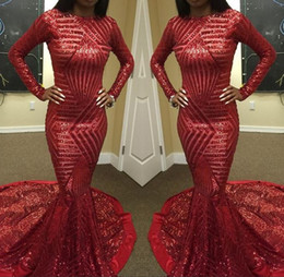 Wholesale Arab T Shirt - Red Sequined Mermaid Prom Dress Sexy High Neck Long Sleeve Arab Muslim Robe De Soiree Formal Evening Gowns Vestido De Festa