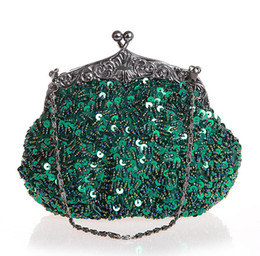 Wholesale N Handbags - Green Chinese Women's Beaded Sequined Wedding Evening Bag Clutch handbag Bride Party Purse Makeup Bag 03162-N