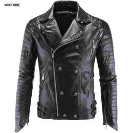 Wholesale punk leather jacket men - Wholesale- MIXCUBIC spring punk style skull PU leather jackets men black casual slim skull Splicing PU leather jacket for men size M-5XL