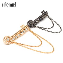 Wholesale locked metal collar - 2017 Sale Special Offer Key Brooches For Metal Brooch Pin Men 's Suits Shirt Tassels Collar Buckle Folder Accessories