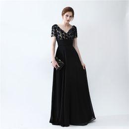 Wholesale Donna Gray Dress - Modest Evening Dresses Abito Lungo Cerimonia Donna 2017 Black Chiffon Prom Dress Backless Party Long Dresses