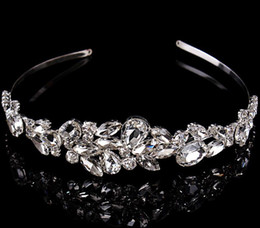Wholesale Gorgeous Crystal - Luxury plated silver crystal teardrop stone gorgeous bridal crown tiara combs wedding hair accessories 1pc free shipping