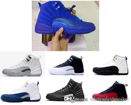 Wholesale Nylons Online - 2018 new mens basketball shoes 12 wool mens sneaker Black Nylon discount shoes flu game french blue sports shoes sale online