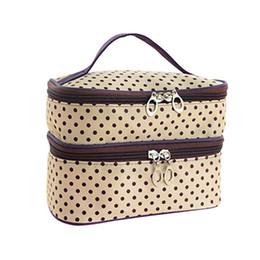 Wholesale ivory makeup - Wholesale- Womens Fashion Dot Pattern Double Layer Makeup Bag(Beige)