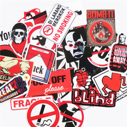 Wholesale Body Cool - Fashion Cool 50 Pcs Black and White and Red Car Stickers for Laptop Luggage Handbag Car Styling Doodle Cool Sticker PVC Creative Decals