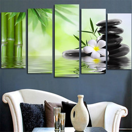 Wholesale Bamboo Art Painting - New Cheap Bamboo Stone Scenery Modern Art Painting HD Printed Canvas Paintings Room Wall Pictures 5 pcs Unframed