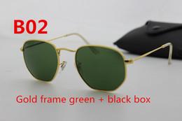 Wholesale European Sunglasses - European and American brand designer hexagonal glass lens sunglasses fashion men's high quality gold frame uv400 sunglasses