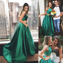 Wholesale Event Dress Girl - Two Piece Hunter Green Satin Prom Dresses For Sweet 16 Girl With Pocket Cris Cross Back 2017 Formal Evening Pageant Event Wears Cheap
