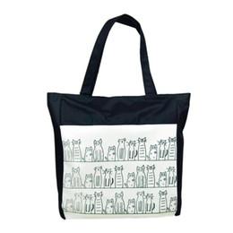 Wholesale Girls Shops - Wholesale- Modern Canvas Cartoon cat Pattern Girls Shopping Shoulder Bags Handbag Beach Jn9