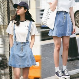 Wholesale Size 26 Ball Gown - Spring Summer girls new fashion jeans skirts Korean style strap dress A line denim short skirt 3 size