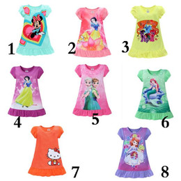 Wholesale Dress Denim Minnie - 8 Styles Summer Girls Dresses Elsa Anna Mermaid Sofia Snow White Minnie kids Pajamas Polyester Nightgowns Sleepwear Clothes Kids Clothing