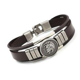 Wholesale Tribal Bracelets Men - Retro Tribal Leather Bracelets Personality Alloy Portrait Rivets Decoration Charm Bracelets For Men Women Cuff Wristbands Bracelets Jewelry