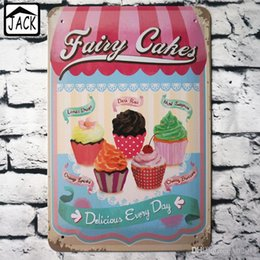 Wholesale Art Wall Plaque - FAIRY CAKE 20x30cm Vintage Tin Sign Noshery Bar Pub Home Coffee Shop Kithchen Wall Decor Retro Metal Art Poster Plaque