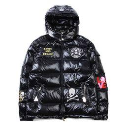 Wholesale Long Black Skull Cardigan - Men's Popular Logo Warm Hoodies Jacket Winter Fashion Thick Skulls Shiny Cotton-padded Cothes Men Hooded Down Cotton-padded Jacket Coat Tops