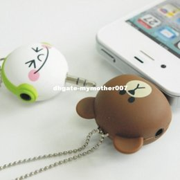 Wholesale Cell Phone Accessories Dust Plug - Cartoon Headset Deconcentrator One to two Music Sharing Device 3.5mm Anti Dust Plug Cell Phone Accessories For ipphone All Phone