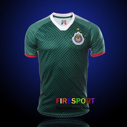 Wholesale Stars Shirts - 2017 New Arrived Camiseta de futebol Third Green Chivas de Guadalajara Soccer Jerseys A.PULIDO 17 18 12 Star Home Football Shirts XXL