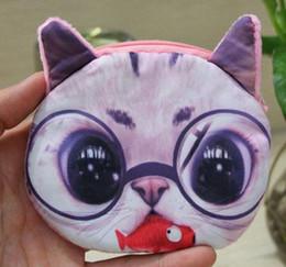 Wholesale Pet Tiger - Wholesale- New Fashion 3D printed Ladies Cute Cat tiger Face Animal Change Coin Purses Wallets girl Mini Zipper Bag women pets money pouch