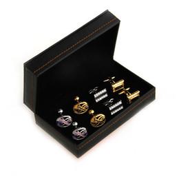 Черный ящик см онлайн-Бренд черный высокое качество PU кожаные запонки коробки подарочная коробка 4 пары костюмы 14*8.2*4.7 коробка ювелирных изделий Cm