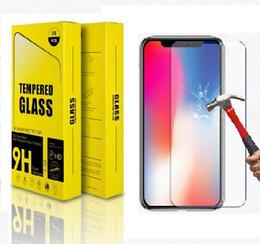 vetro di protezione dello schermo del telefono delle cellule Sconti Protezione dello schermo del telefono cellulare per iPhone x 8 plus Custodia in vetro temperato per 9H Custodia rigida per iPhone8 Pellicola di protezione in vetro iphone7 6 5