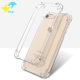 Wholesale Iphone Soft Clear Cases - Super Anti-knock Soft TPU Transparent Clear Protect Cover Four Angle Shockproof Soft Cases For iPhone 5 6 6 7 plus samsung s8 s8 plus