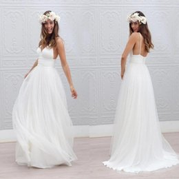 Wholesale Detailed Formal Dresses - 2017 Beach Summer Boho Wedding Dresses Sexy Backless Spaghetti Straps Floor Length Wedding Bridal Gowns Bohemian Formal
