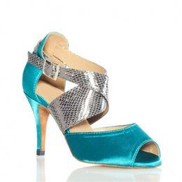 Wholesale professional ballroom dance - Blue Satin the newest Professional dance shoes Latin dance shoes Women's ballroom dancing shoes popular global