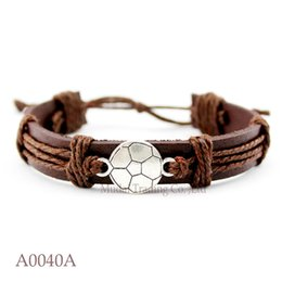 Wholesale Sports Team Jewelry - Soccer Team Adjustable Leather Friendship Cuff Bracelets for Men & Women Football Bangle Punk Casual Wristband Jewelry