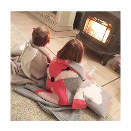 Wholesale Fox Bedding - INS Hot FOX Muslin Swaddle Wrap Crochet Baby Blanket Organic Muslin Blanket For Beach Sleeping Bedding 28*43INCH
