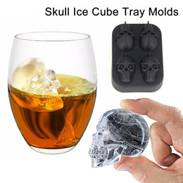 Wholesale Candy Skulls - 2017 New Fashion Silicone Bones Skull Ice Cube Mold Kitchen Chocolate Tray Silicone Cake Candy Mold Cooking Tools Top Quality