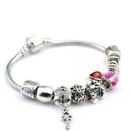 Wholesale Hj Diy - DIY hot sell women ladies beaded chians bracelets strands big holes New Arrival charm bangle silver bracelet-HJ-1622006