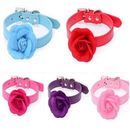 Wholesale Red Velveteen - Puppy Collars Big Velveteen Flower with PU Leather Dog Supplies Pink Red Purple Blue Rose Necklet Dog Pet Collars