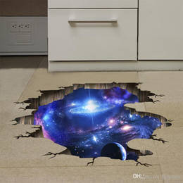 Wholesale Nature Flooring - Outer Space Planets 3D Wall Stickers Cosmic Galaxy Wall Decals for Kids Room Baby Bedroom Ceiling Floor Decoration
