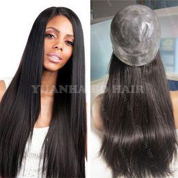 Wholesale Thin Skin Hair Wig - Hot selling 1b silky straight malaysian virgin human hair silicone full thin skin wigs free shipping