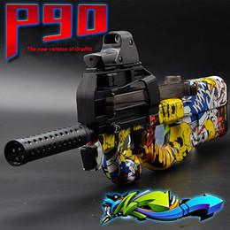Wholesale Electric Soft Gun - P90 Graffiti Edition Electric Toy Gun Soft Water Bullet Bursts Gun Live CS Assault Snipe Weapon Outdoors Toys For Children