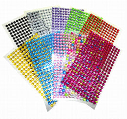 Wholesale Rhinestone 6mm Sticker - 260 pcs  set Beauty 6mm Crystals Rhinestones Car Decor Decal Styling Accessories Mobile PC Art Diamond Self Adhesive Stickers