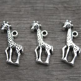 antike hirsche Rabatt 25pcs - Giraffe Charms, antike tibetische Silber Ton Tier Charm Anhänger, Hirsch Charm Anhänger / Stecker 40x11mm