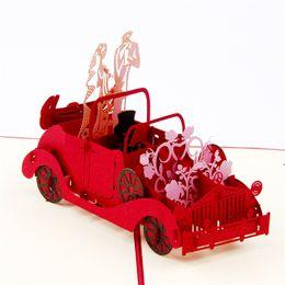 Wholesale Wedding Invitation Classic - The Creative 3D Pop Up Classic Car Wedding Card Laser Cut Three-dimensional Greeting Cards Wedding Invitations 10pcs lot