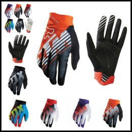 Wholesale Gloves Gear - FOX MTB Racing Gloves 5 Rainbow Colors Winter Motocross Dirtpaw Rockstar Full Finger Protective Gear for Men Women