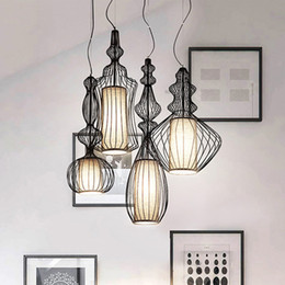 Wholesale Hanging Bird Cages - LED Modern Pendant Lamps Big Nobles Hanging Pendant Lights Fixture White Black Bird Cage Restaurant Cafes Pub Home Indoor Lighting Droplight