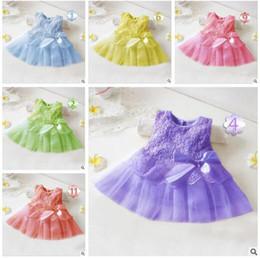 Wholesale Gauze Dresses For Kids - Kids Clothing Girls Dress Lace Princess Dresses Gauze Infant Appliqued Bows Elegant Dress For Party Kids Sleeveless 12 Colors Best Gifts
