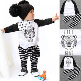 Wholesale Set Little Bear - NEW ins Baby Boys Clothing Sets Long Sleeve Cute Cartoon Set Little Bear Head Boy Suits Tops Shirts + Pants 2pcs Sets Black A7537